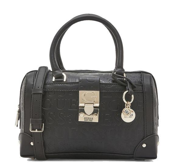 Dettagli su BORSA DONNA Guess lucienne box satchel BLACK HWVD7466060BLA